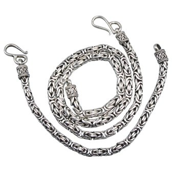 Vintage Byzantine Chain Necklace and Bracelet Set Bali Indonesia Sterling Silver by BA
