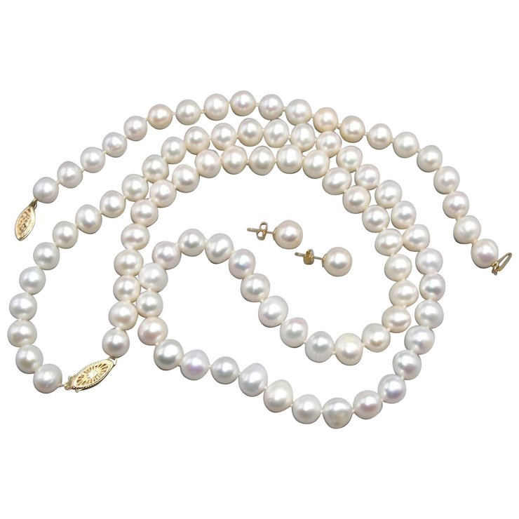 Vintage Freshwater Pearl Necklace Bracelet And Earring Set 14k