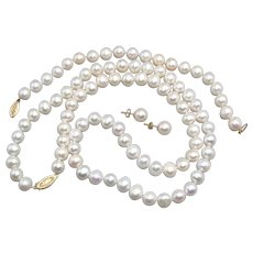 """Vintage Freshwater Pearl Necklace Bracelet and Earring Set 14K Yellow Gold 8mm 24"""""""
