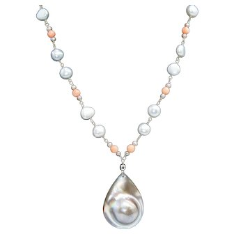Lovely Blister Pearl Pendant with Coral and Freshwater Pearl Necklace Sterling Silver