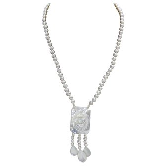 Lovely Freshwater Pearl Necklace with Mother of Pearl Carved Rose Pendant