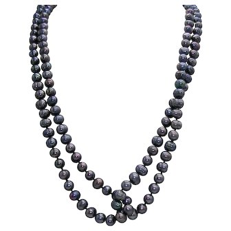"Long and Luscious Peacock Blue Freshwater Baroque Pearl Necklace 52"" 8.5mm"