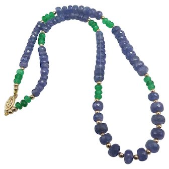 Beautiful Natural Tanzanite and Emerald 14K Yellow Gold Necklace 120 Total Carat