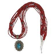 Vintage Native American Santo Domingo Red Mediterranean Coral Multi Strand Necklace