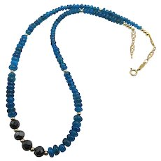Beautiful Blue Neon Apatite and Black Diamond 14K Yellow Gold Bead Necklace