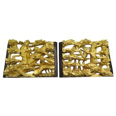 Two Fine Old Chinese Gold Gilt Relief Carved Wood Wall Hanging Panel Lacquer Set