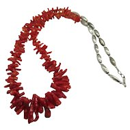 Natural Italian Red Branch Coral Bench Bead Necklace