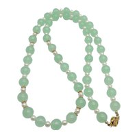 Lovely Mint Green Jade and Pearl 14K Yellow Gold Vermeil Sterling Silver Bead Necklace
