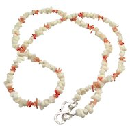 Lovely Chunky White and Peach Coral Bead Necklace