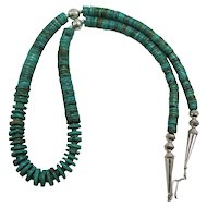 Lovely Turquoise and Native American Sterling Silver Bench Bead Necklace