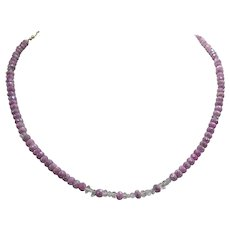 Beautiful Mystic Pink Ruby Bead Necklace Herkimer Diamond Accents