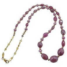 Beautiful Pink Ruby Yellow Gold Sterling Silver Vermeil Necklace One of a Kind