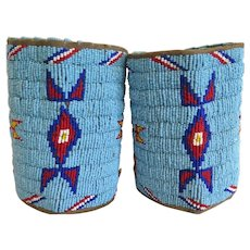 Vintage Beaded Sioux Lakota Arm Wrist Cuff Band Pair Leather Native American Indian