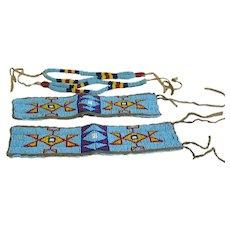 Antique Beaded Lakota Wrist Cuff Band Leather Native American Indian Set of 4