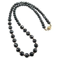 Beautiful Moissanite  Black Diamond 14K Bead Necklace 142 TCW