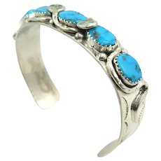 Vintage Native American Effie Calavaza Zuni Sterling Silver Turquoise Cuff Bracelet