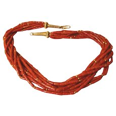 Vintage Multi Strand Red Coral Tribal Necklace 14K Yellow Gold