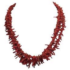 Native American Navajo Red Multi Strand Branch Coral Necklace