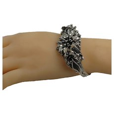 Chunky Flower Design Sterling Silver Cuff Bracelet 49. 2 Grams