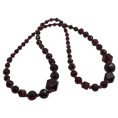 Vintage Art Deco Cherry Bakelite Amber Bead Necklace with Different Shapes