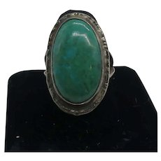 Vintage Native American Sterling Silver Turquoise Primitive Ring Size 8