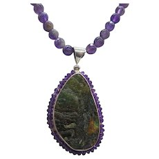 Beautiful Amethyst and Labradorite Sterling Silver Pendant Necklace
