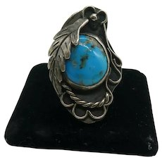 Vintage Native American Sterling Silver Large Turquoise Ring