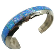 Native American Navajo Blue Opal Inlay Cuff Bracelet by Steve Francisco