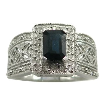 Lovely Sapphire and Diamond Cocktail Ring 14K White Gold