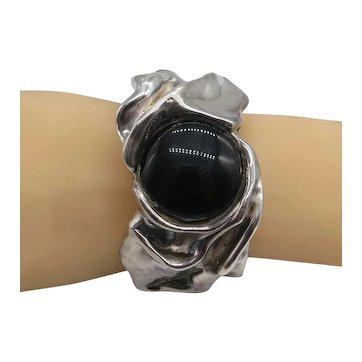 Chunky Modernist Black Onyx Freeform Cuff Bracelet