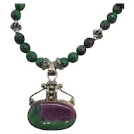 Beautiful Ruby Zoisite Sterling Silver Bead Necklace Pendant