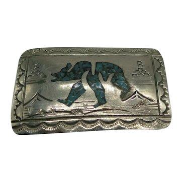 Turquoise Chip Inlay Bear Belt Buckle Signed WCB Nickel Silver Wilson Carolyn Begay