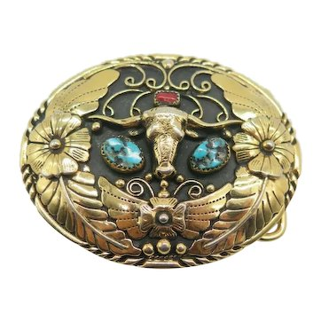 Southwestern Style Steer Head Turquoise Belt Buckle by SSI 88