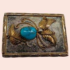 Anthony Vanderver Navajo 925 Gold Filled & Turquoise Native American Belt Buckle