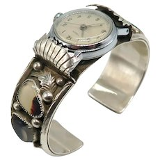 Vintage Native American Sterling Silver Agate Watch Band and Watch