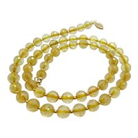 Beautiful Natural Citrine 14K Yellow Gold Bead Necklace