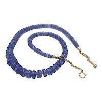 Beautiful Natural Tanzanite 14K Yellow Gold Bead Necklace