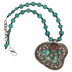 Huge Turquoise and Coral Tibetan Pendant Chinese Turquoise Bead Necklace