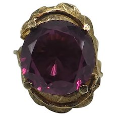 Vintage 14K Solid Yellow Gold Large Amethyst Ring