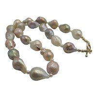 Beautiful Large Baroque Pearl Necklace with 14K Yellow Gold Toggle