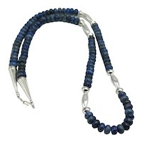 Southwestern Native American Lapis Lazuli Sterling Silver Bead Necklace