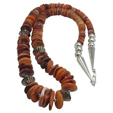 Huge Southwestern Native American Genuine Spiny Oyster Beads Heavy Necklace