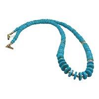 Natural Untreated Sleeping Beauty Arizona Turquoise Bead Necklace 14K Yellow Gold