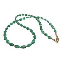Beautiful Natural Zambia Emerald Bead Necklace 14K Yellow Gold