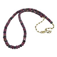 Beautiful Blue and Pink Sapphire Bead Necklace with Yellow Gold Vermeil
