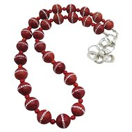 Sponge Coral Beads with Inlaid Swarovski Crystals Sterling Silver Bead Necklace