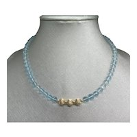 Beautiful Sky Blue Topaz Faceted Round Bead Necklace with 14K Gold