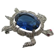 Crown Trifari Facetted Blue Crystal Sapphire Blue Belly Turtle Brooch Pin