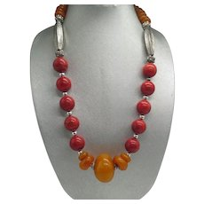 Copal Amber and Coral Tribal Statement Necklace Huge