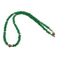 Beautiful Zambia Emerald Bead Necklace 14K Yellow Gold